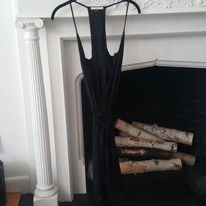 Tart Black Skinny Strap V-Neck Wrap Day Dress